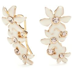 Kate Spade New York White Gold-Tone Citrus Crush Flower Drop Earrings ($58) ❤ liked on Polyvore featuring jewelry, earrings, white, white gold drop earrings, charm earrings, white earrings, kate spade jewelry and drop earrings
