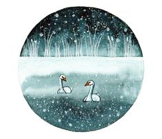 SALE Original watercolor painting Swans in the lake by bluepalette