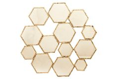 One Kings Lane - The Mirror Market - Hexagon Wall Mirror,  Gold