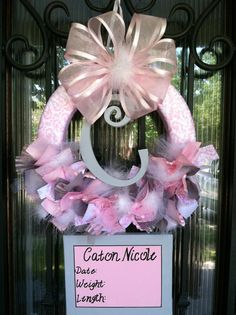 Baby Ribbon Wreath Nursery Hospital Door Baby Shower by JoowaBean, $85.00