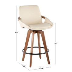 Mid-Century inspired, this cream leather counter height stool from RC Willey combines style and comfort! A faux leather seat is accented by stylish walnut wood armrest and legs. It's a great look for your space the best. White Bar Stools, Walnut Wood, Walnut Finish, Upholstered Bar Stools, Counter Height Stools, Foot Rest, Simple Designs, Mid-century Modern, Upholstery