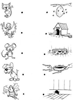 Animal-Game animals and their homes, preschool at home, preschool activities, montessori Preschool Science Activities, Preschool Education, Preschool At Home, Matching Worksheets, Animal Worksheets, Nursery Worksheets, Animals And Their Homes, Farm Animal Coloring Pages, Animal Habitats
