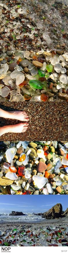 Glass beach in Northern California. I've been there! Its incredible. A long time ago used to be the town dump near a glass factory now all ground down to beautiful pebbles that you can spend hours sifting through
