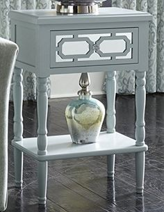 Contemporary Seafoam Blue Lydia Wood and Mirror Side Table #SimplyAbundant #FreeShipping #EndTable #NIghtstand