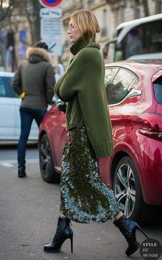 hailey baldwin - paetês + tricô / looks de inverno