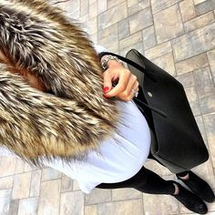 IG @mrscasual <click through to shop this look> Faux fur infinity scarf.  White tunic.  Maternity leggings.  Jack rogers ankle booties.  Tory burch black perry tote.