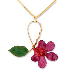 """NOVICA Yellow Gold-Plated Handmade Natural Orchid and Rose Leaf Pendant Necklace, 18"""", 'Sublime'. An original NOVICA fair trade product in association with National Geographic. Includes an official NOVICA Story Card certifying quality & authenticity. NOVICA works with Danai to craft this item. Includes an original NOVICA jewelry pouch to keep for yourself or give as a gift. A keepsake treasure designed to be loved for years to come."""