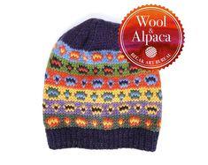 Knit Fair Isle Hat from Alpaca Wool Yarn. Fair Isle Knitting, Hand Knitting, Knitting Patterns, Alpaca Wool, Wool Yarn, Hand Knitted Sweaters, Knitted Hats, Super Bulky Yarn, Beanie Pattern