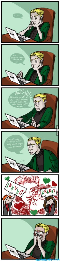 Draco Malfoy reacts to Drarry