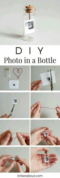 DIY Tiny Photo/Message in a Bottle as an Anniversary Gift Idea! - - DIY Tiny Photo/Message in a Bottle as an Anniversary Gift Idea! DIY Tiny Photo/Message in a Bottle as an Anniversary Gift Idea! Diy Valentines Gifts For Him, Easy Diy Christmas Gifts, Diy Gifts For Him, Ideas For Gifts, Diy Gifts For Boyfriend Christmas, Diy Gifts For Your Best Friend, Small Gifts For Friends, Birthday Gifts For Boyfriend Diy, Diy Gifts With Photos