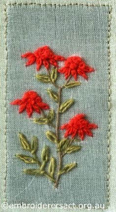 Detail of Waratah Flowers from Australian Landscape and Flora stitched by Lorna Loveland