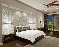 Bedroom Design, Cool Contemporary Bedroom With White Texture Bedroom Wall Designs Also Comely Twin Pendant Lamp Also Mod Brown Nightstand Also Queen Size Bed With Brown Wooden Divan Also White Quilt And Brown Pillowcase: Two Best Bedroom Wall Designs
