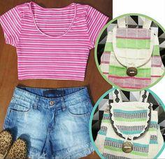 Agora, um look casual que combina com as mochilas. Blusa rosa com listras brancas + short denim + sapatilhas animal print.💙🎒 #weekend #creative #fashion #casual #inspirations #backpacks #combinations
