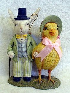 Bethany Lowe Antique Inspired Folk Art Bunny Chick Easter Holiday & Home Decor