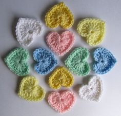 Set of six CROCHET HEART APPLIQUES in pastel or by JessesMomus