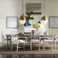 Charlotte Chinese Chippendale Dining Chairs and Expanding Brookville Dining Table