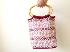Wool Purse or Small Book Bag Hand Knit in Soft Pink and Cream Wool, perfect as a Mother's Day Gift Knitted by KnittyVet