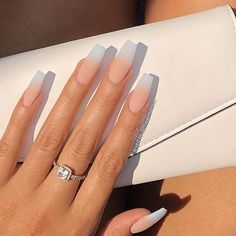 Matte French Ombre on long Coffin Nails Long French Tip Nails, Ombre French Nails, French Tip Acrylic Nails, Matte Acrylic Nails, Coffin Nails Glitter, Summer Acrylic Nails, Coffin Nails Long, Long Nails, Gel Nails