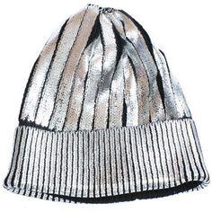 ChainCandy| Foiled Metallic Knit Beanie Hat