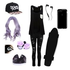"""""""Emo Tomboy Skater"""" by nina-111 on Polyvore featuring Osiris, Skullcandy, Hot Topic, Dorothy Perkins, Speck and Solid & Striped"""