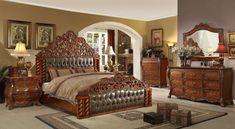 Victorian Bedroom Set, Victorian Decor, Victorian Gothic, Bedroom Minimalist, Ideas Vintage, King Bedroom Sets, Royal Bedroom, Wooden Bed Frames, Tuscan Decorating