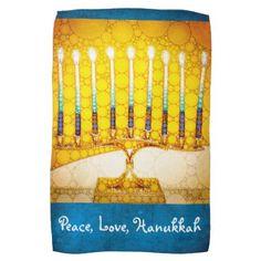 Peace Love Hanukkah Yellow Gold Menorah Photo Kitchen Towel - kitchen gifts diy ideas decor special unique individual customized