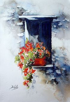 Buy 'Tuscany Window' by Bev Wells as a Greeting Card. Watercolor painted on Arches 140 not Artists Quality watercolor paints Last year I went on a painting holiday ! the subject is not in my comfort zone- So I have painted this from a pho. Watercolor Pictures, Watercolor And Ink, Watercolour Painting, Watercolor Flowers, Painting & Drawing, Watercolors, Types Of Painting, Art Floral, Floral Artwork