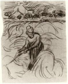 Vincent van Gogh Woman Working in Wheat Field Drawing