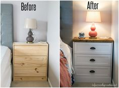 IKEA Rast Two-Toned Nightstand Makeover Schlafzimmermöbel - Furniture Ikea Garden Furniture, Ikea Furniture Makeover, Ikea Furniture Hacks, Bedroom Furniture Makeover, Painted Bedroom Furniture, Repurposed Furniture, Ikea Hacks, Ikea Makeover, Furniture Outlet