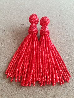 Bead Earring, Long tassels by Hafitdesign on Etsy