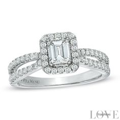 Vera Wang LOVE Collection 1 CT. T.W. Emerald-Cut Diamond Split Shank Ring in 14K White Gold