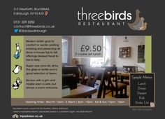 Threebirds restaurant, Edinburgh