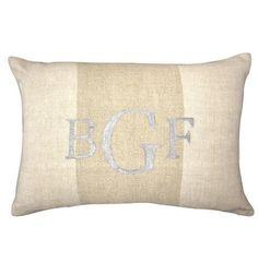 Biltmore Pillow – Dorm-Decor. Hand Painted Silver Monogram on Neutral Striped Linen. www.dorm-decor.com/