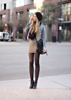 Mini skirt with jean jacket