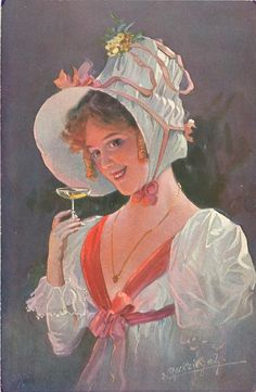 pretty girl holds wine gass, pale blue dress & hat, pink ribbon, faces & looks half left