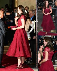 "Kate in a MarchesaNotte dress to attend the opening night performance of ""42nd Street"" in London!"