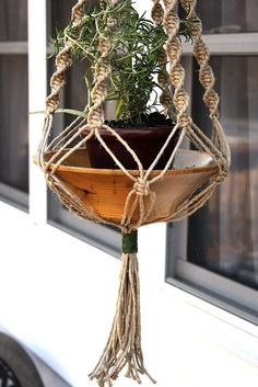 Hemp Plant Hanger... I could totally make this. I just have to channel myself in like 9th grade and remember how to make the spiral staircase!