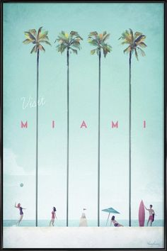 Vintage travel poster of Miami, Florida. Original Miami Beach vintage travel poster by Henry Rivers. Buy a premium poster online! Poster S, Poster Prints, Poster Ideas, Travel Illustration, Digital Illustration, Vintage Travel Posters, Framed Art Prints, Vintage Art Prints, Illustrations Posters
