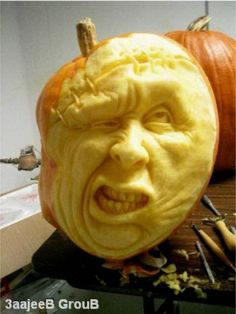 Pumpkin art. Loved doing this kind of stuff in a pumpkin, only part is.. it rots and that just ruins it.