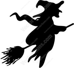 Scary Witches On Broomsticks | Silhouette of a witch on a broom | Stock Cartoon Graphics | Vector ...