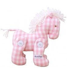 Alimrose Jointed Toy Pony in Pink Gingham