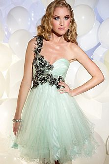 2013 Style Applique Tulle Short 2013 Prom Dress