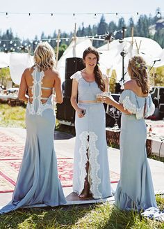 Love the Colour & Lace Combination that Works so Well with These Mismatch Boho Bridesmaids - Outdoor Bohemian Wedding. Feather Love Photography.