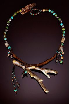 Necklace | Chris Carlson. 'Tangent'.  Alaskan coral, turquoise, pyrite, leather and waxed linen.