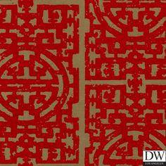 Chinese Fret Flocked Velvet Wallpaper - Red Flock on aged gold  [FLK-126] More Red Flocked Velvet Patterns   Color: Red Velvet On Gold   DesignerWallcoverings.com   Luxury Wallpaper   @DW_LosAngeles   #Custom #Wallpaper #Wallcovering #Interiors