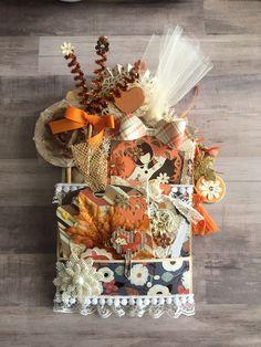 Scrapbook Paper Flowers, Scrapbook Paper Crafts, Fall Paper Crafts, Book Crafts, Pocket Envelopes, Card Envelopes, Fall Projects, Craft Projects, Halloween Shadow Box