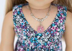 American Girl doll flower necklace pink by EverydayDollwear, $4.00