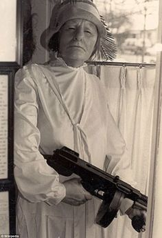 "Ma Barker and her Thompson gun in an undated picture of the legendary matriarch. She was the mother of several criminals who ran the Barker gang from ""the public enemy"" era. Gangsters, Women In History, World History, Old Pictures, Old Photos, Real Gangster, Mafia Gangster, Interesting History, Our Lady"