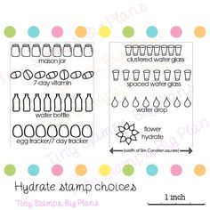 BLOCK NOT INCLUDED LISTING IS FOR A SINGLE STRIP STAMP (or single cluster) Hydrate stamp for planners, used to track your daily water