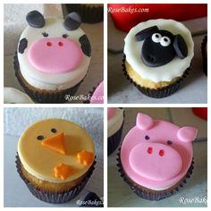 Farm Animals Cupcakes Collage